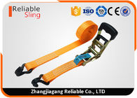 EN Standard Molded Rubber Ratchet Tie Down Strap Orange Cargo Lashing Straps