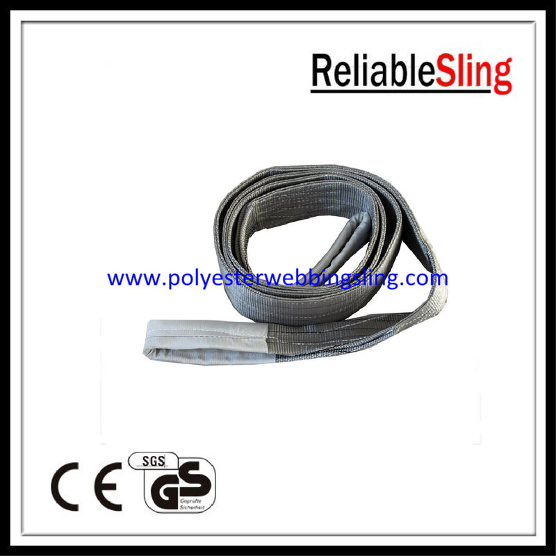 4T Webbing tapes polyester lifting belt , Single / double tubular industrial sling