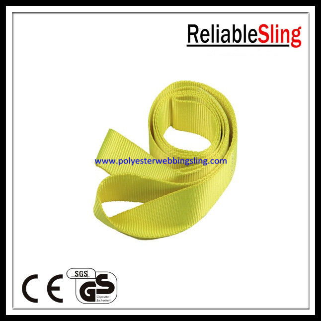 Wide and flat Yellow Endless Webbing Sling Safety one way lifting belt