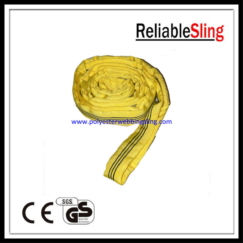 3T Yellow Polyester flat webbing sling , Endless lifting web slings belt