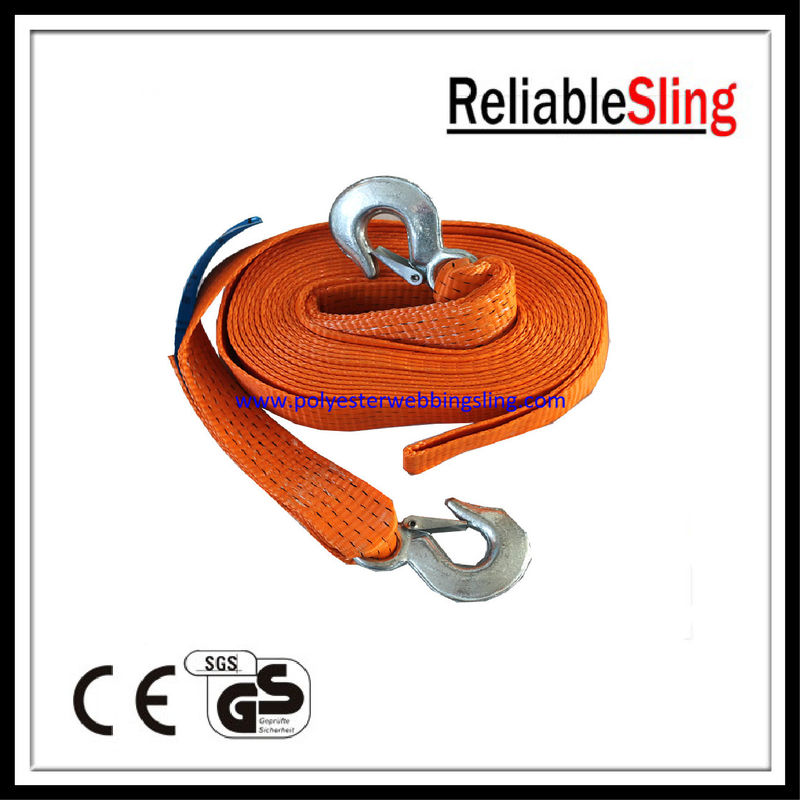 CE GS ISO Orange heavy duty tow straps with hooks for off road recovery straps