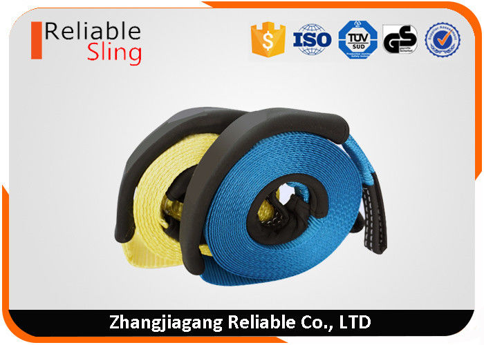 Durable 75 mm 5 m 10 Ton Polyester Tow Snatch Strap With Eye and seam protector sleeves