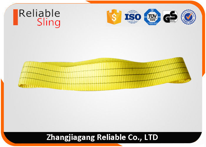 Double Ply Yellow Polyester Web Slings Lifting Strap 3 Ton Low Elongation Lightweight
