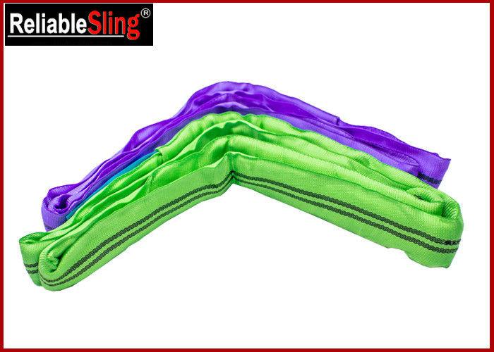 Flexible Soft Endless Polyester Round Sling , Round Webbing Sling 1 ton - 12 tons Capacity