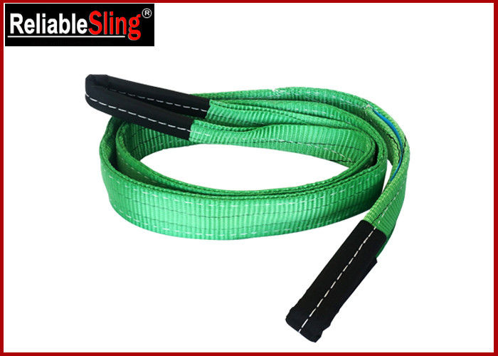 Green Ply Polyester Webbing Sling For Lifting Loads  , Eye And Eye Sling